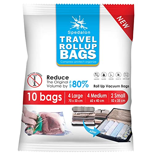 Travel Roll Up Compression Bags For Travelling - Pack of 10 (Medium to Large) - Double Zipper, Reusable Bags for Home Storage and Packing Organization - No Vacuum Pump Needed