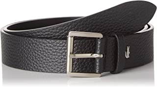 Lacoste Rc4007 Men's Engraved Rolling Buckle Grained Leather Belt