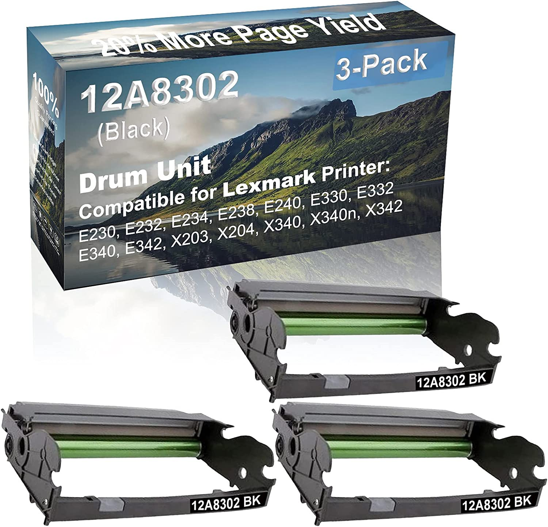 3-Pack (Black) Compatible E330, E332, E340, E342 Printer Drum Unit Replacement for Lexmark 12A8302 X340H22G Drum Kit