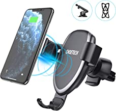 CHOETECH Cargador Inalámbrico Coche, Qi Wireless Car Charger Soporte(2 Usos), 10W para Samsung S20/S20+/S10e/S10+/S9/S8+/Note 10/Note 9,7.5W para iPhone SE 2/11/11Pro/XS/XR/X/8/8 Plus, 5W QI-Enabled