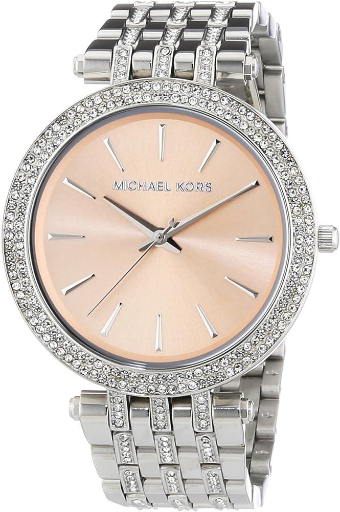 Michael kors, orologio per donna, cassa in acciaio inossidabile placcato argento,lunetta con cristalli MK3218