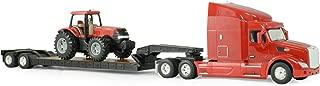 Ertl Big Farm Peterbilt Model 579 Semi with Lowboy and Case IH MX305 Tractor Backhoe Loader