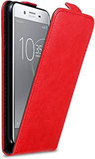 Cadorabo Case works with Sony Xperia XZ Premium in APPLE RED - Flip Style Case with Magnetic Closure - Wallet Etui Cover P...