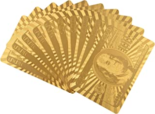 ONE250 Premium 54pcs/Pack 24K Gold Foil Plated Poker Waterproof Washable Foldable PVC Plastic Playing Cards