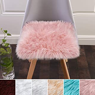 Softlife Square Faux Fur Sheepskin Chair Cover Seat Cushion Pad Super Soft Area Rugs for Living Bedroom Sofa (1.6ft x 1.6ft, Pink)