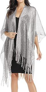 Womens Large Metallic Shawls and Wraps Kimono Cardigan