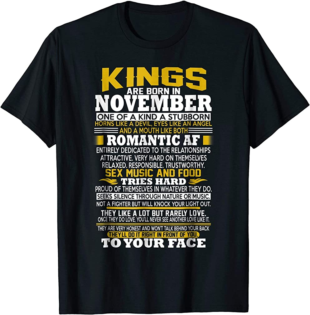 Awesome Birthday Gift Kings Are Born In November Tshirt
