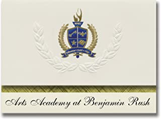 Signature Announcements Arts Academy at Benjamin Rush (Philadelphia, PA) Graduation Announcements, Presidential Basic Pack 25 with Gold & Blue Metallic Foil seal