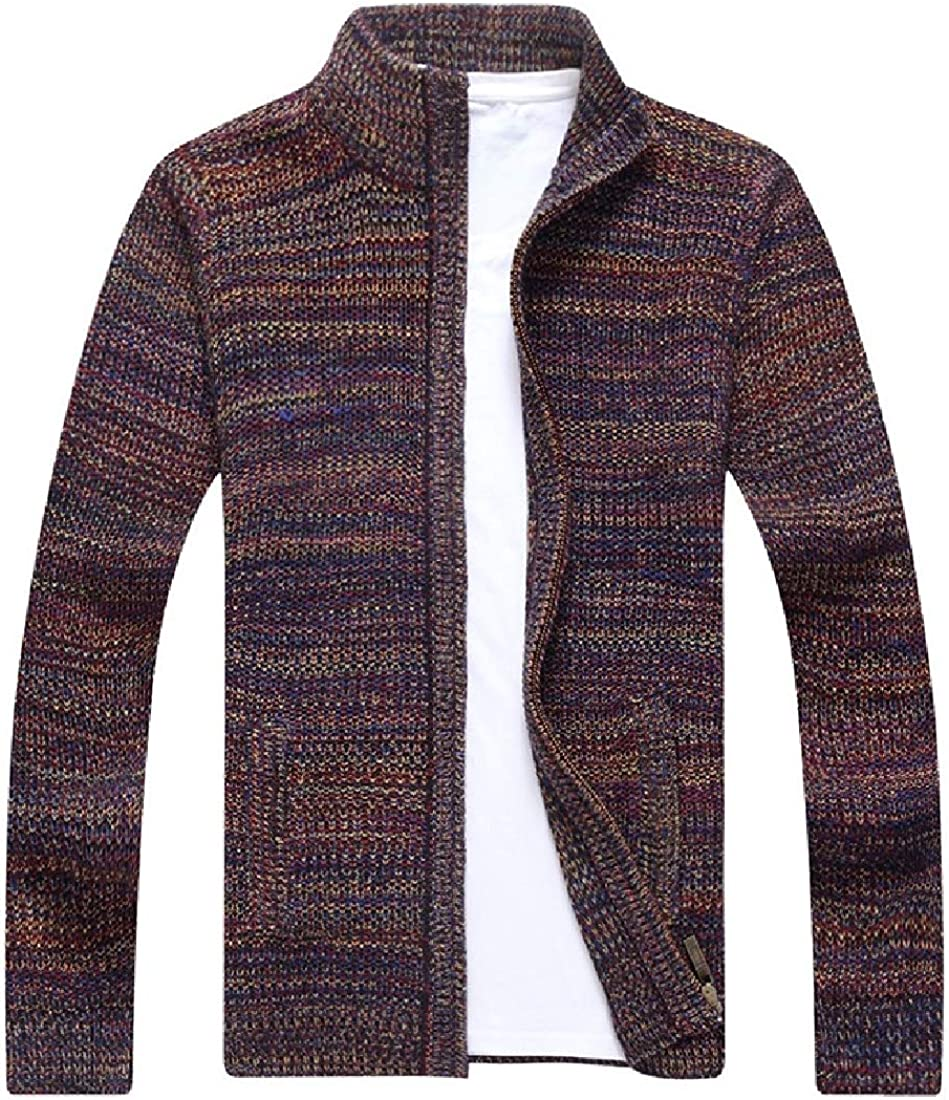 CRYYU Men Button Down Stand Collar Knitted Slim Fit Cardigan Sweater