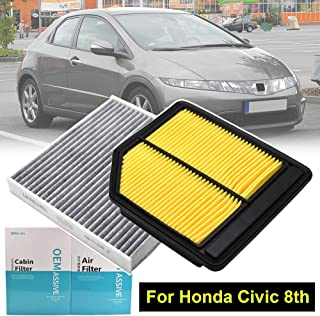 Car Engine Pollen Cabin Air Filter Includes Activated Carbon 17220-RNA-A00 80292-SDA-A01 For Honda Civic 8 Mk8 2005 2006 2007 2008 2009 2010 2011