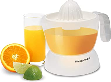 Elite Gourmet BPA-Free Electric Citrus Juicer Extractor: Compact Large Volume Pulp Control Oranges, Lemons, Limes, Grapefruit
