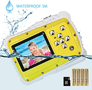 Kids Camera, Digital Waterproof Camera for Children with 3M Waterproof, 2 Inch LCD Screen, 12MP HD Resolution, 8X Digital Zoom and Flash with A 8G SD Card and Non-Rechargeable Battery - Amazon Vine …