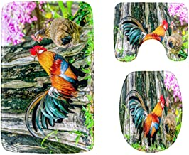 Colorful Rooster in The Grassland Bathroom Rug Mats Set 3-Piece,Soft Shower Bath Rugs,Contour Mat and Toilet Seat Lid Cove...