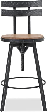 "Christopher Knight Home Alanis Firwood Barstool, 39"", Black Brush Silver"
