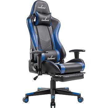 IODOOS ゲーミングチェア オットマン付き gaming chair ゲームチェア オフィスチェア パソコンチェア デスクチェア 175°リクライニング ロッキング 腰痛対策 ハイバック クッション PUレザー ブルー 81B