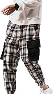 XYXIONGMAO Mens Joggers Streetwear Hip Hop Cargo Pants Check Loose Casual Sports Pants Youth Multi-Pocket Overalls