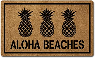 Welcome Door Mats for Home Decor (18 x 30 inch) Funny Mats with Anti-Slip Rubber Back Kitchen Rugs Personalized Doormat for Entrance Way (Aloha Beaches Pineapple)