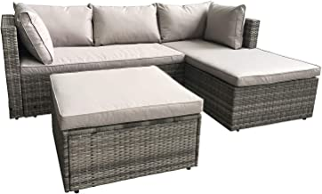 AmazonBasics Outdoor Patio Garden 3-pc Wicker Rattan Sectional Sofa Lounge Set with Cushions and Ottoman (Grey)