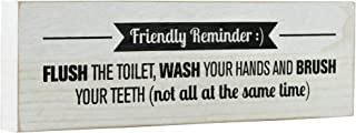 Mojo Blocks Wood Sign with Bathroom Kids Quote, Friendly Reminder; Flush The Toilet.12 x 3.6 inch
