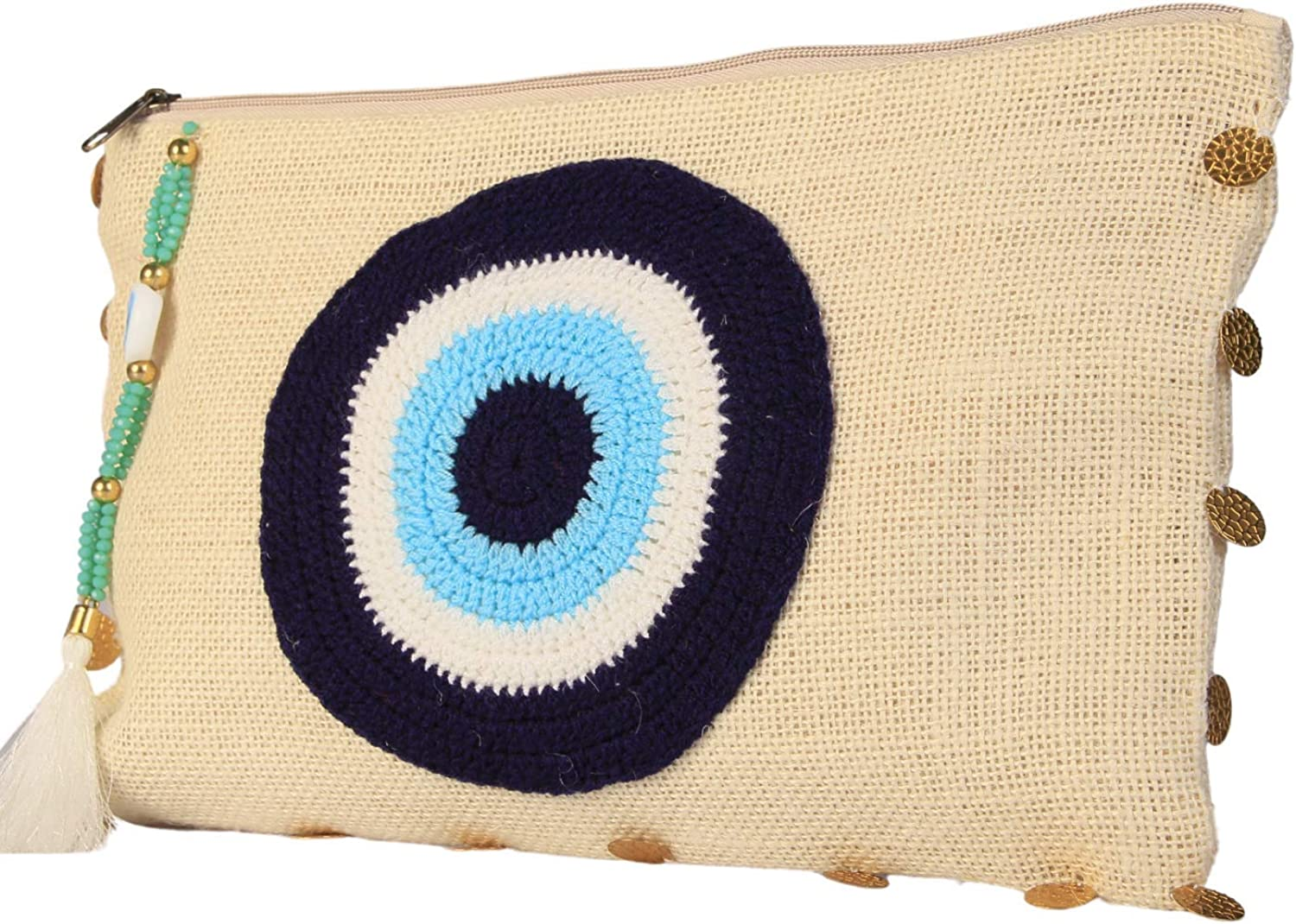Karens Line Evil Eye Eco Friendly Jute Handheld Clutch Purse Large Space with Zipper Closure&Crystal Decoration Off-White&Gold