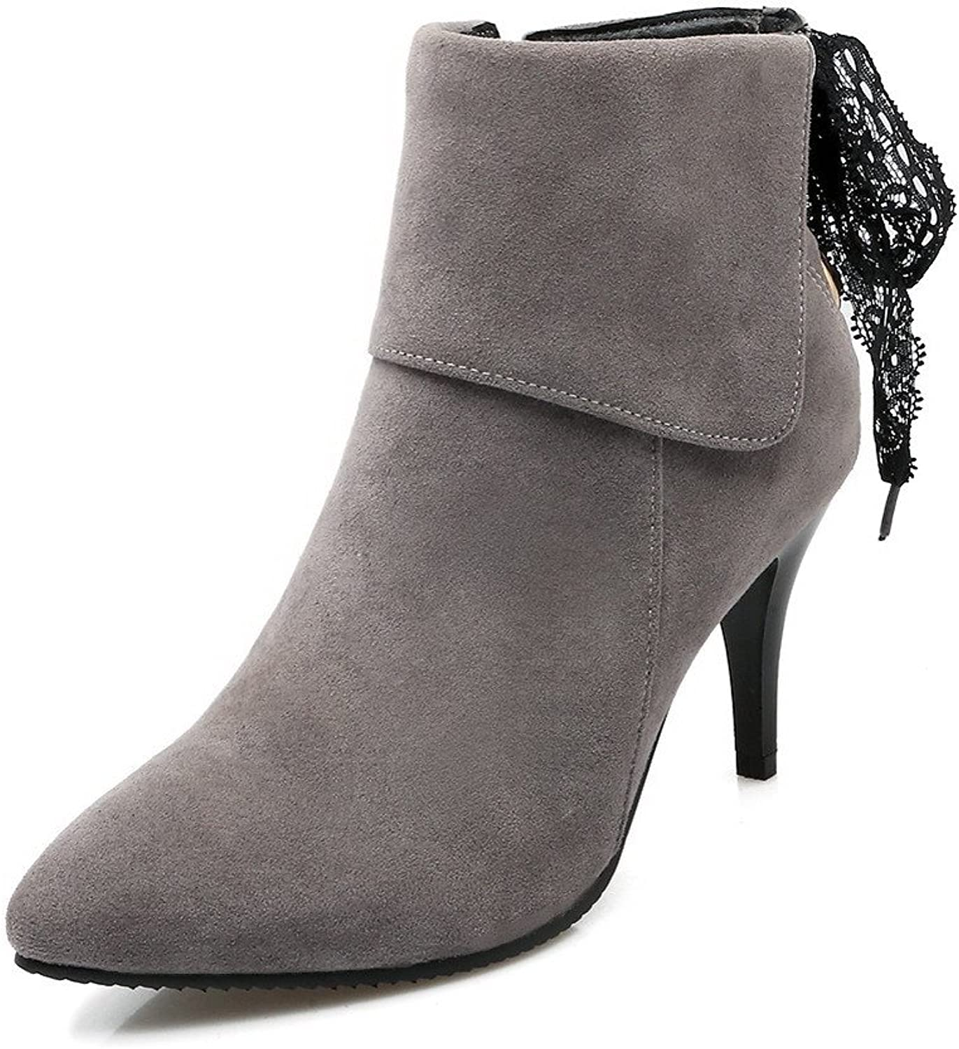 WeiPoot Women's Frosted Zipper Pointed Closed Toe High-Heels Low-top Boots