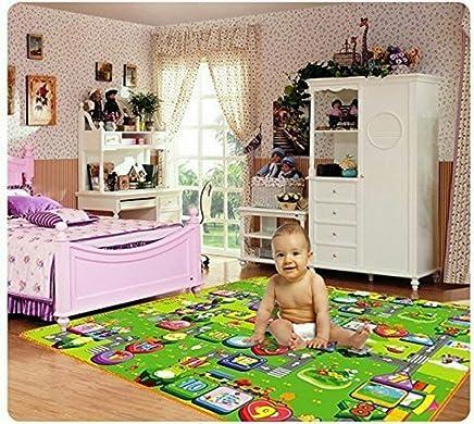 Sampri Kid's Anti Skid Double-Sided Waterproof Crawl Mat Carpet (Colour and Design May Vary, 6.5 * 6