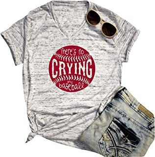 There's No Crying in Baseball Shirt Women Short Sleeve V Neck Casual Tee Blouse (Light Gray, M)