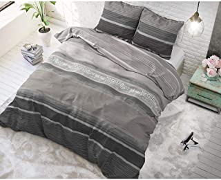 SLEEP TIME Housse De Couette Coton, Housse de Couette d ete, Marron, Good Morning, 220cm x 240cm, avec 2 taie d'oreiller 6...