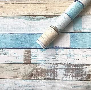 Amao Vintage Blue Distressed Wood Peel and Stick Wallpaper Décor 17.7''x79''