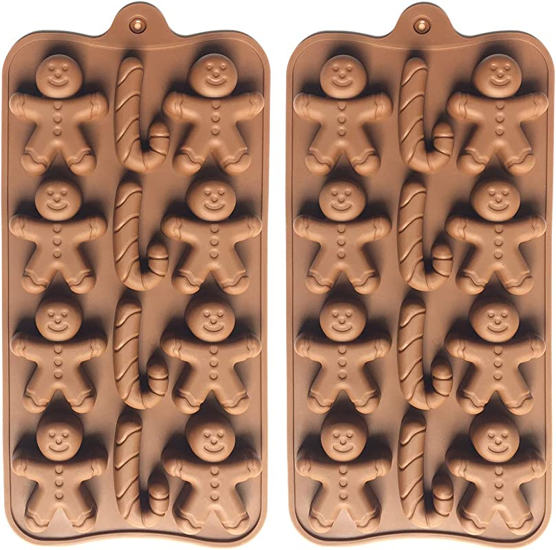 2pcs Christmas Silicone Molds For Baking Jelly Soap Candy Cane Gingerbread Men Chocolate Candy Mold 2 Shapes