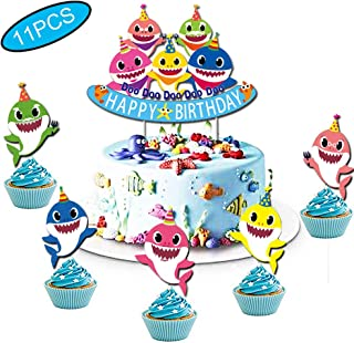 Baby Little Shark Cake Topper and Cupcake Toppers Cute Shark Happy Birthday Cake Decoration for Baby Shower Birthday Party