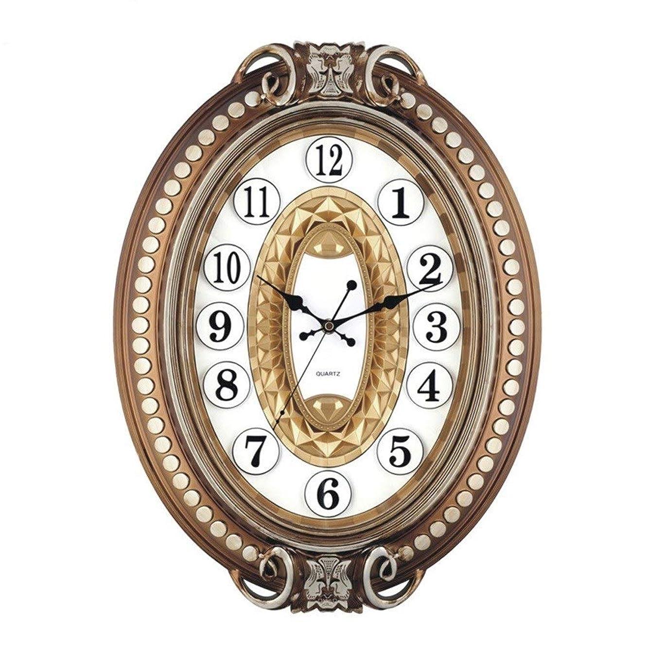 速記先史時代のドキュメンタリーZhengtufuzhuang リビングルームの寝室のポーチアンティーク創造的な柱時計、ヨーロッパのレトロミュートノンスケールオーバル高級壁掛け時計、ブロンズメタルの装飾品37 * 49.5 * 7 Cm 芸術