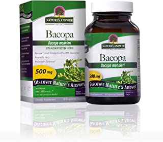 Nature's Answer Bacopa Monnieri Standardized Vegetarian Capsules 500mg, 90-Count | Promotes Cognitive Function | Mental Cl...