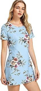 Floerns Women's Short Casual Hem Tee Shift T-Shirt Dress