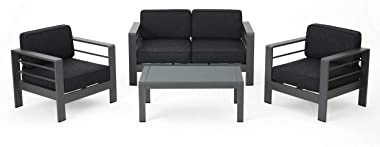Christopher Knight Home Crested Bay Aluminum Outdoor Chat Set with Water Resistant Cushions, 4-Pcs Set, Grey / Dark Grey