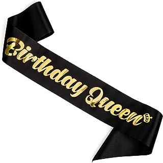 "CORRURE""Birthday Queen"" Sash for Women - Soft Black Satin Sash with Metallic Gold Foil - Birthday Sash for 18th 21st 25th ..."