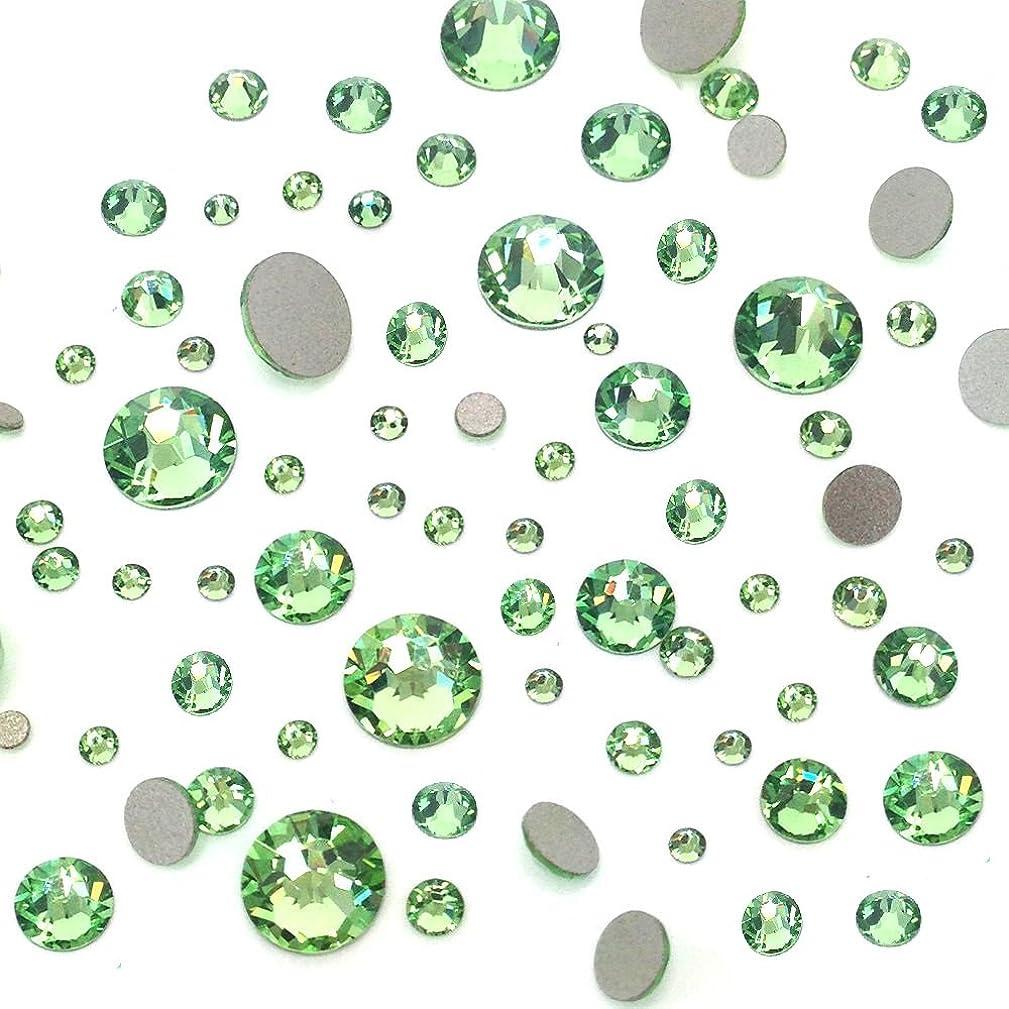 PERIDOT (214) green 144 pcs Swarovski 2058/2088 Crystal Flatbacks green rhinestones nail art mixed with Sizes ss5, ss7, ss9, ss12, ss16, ss20, ss30