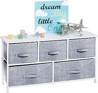 mDesign commode à 5 tiroirs – meuble à tiroirs large pour la chambre d'enfant – joli rangement vêtements en métal, MDF et ...