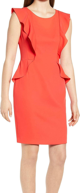 Anne Klein Women's Flutter Sleeve Crepe Sheath Dress