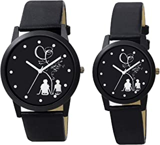 HARMI CREATIVE Most Gifted Black Dial Love Bird Analog Couple Combos Watch for Men and Women (Popular Couple Black Tree Lovers Dial) (Pack of 2)