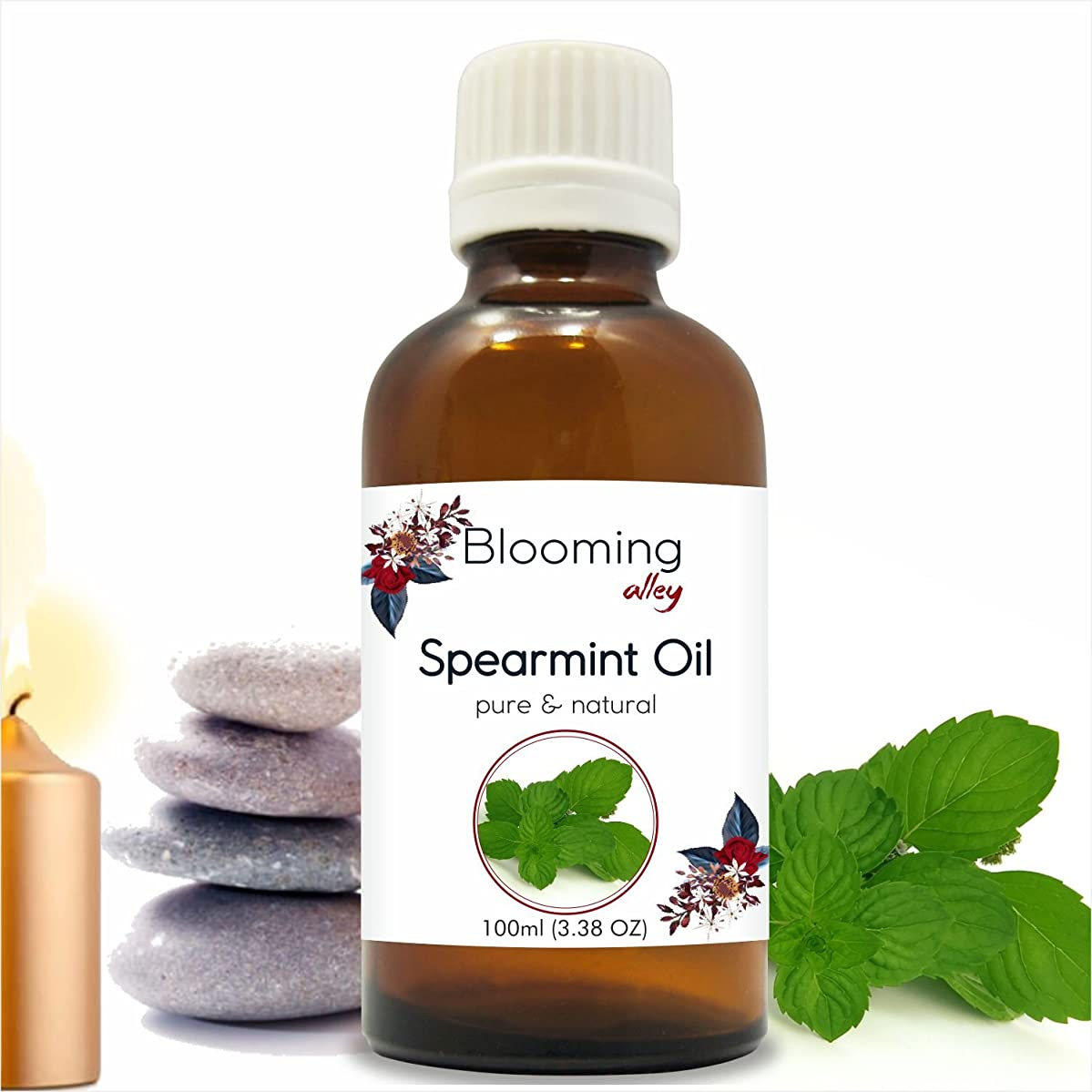 費用有毒な発生するSpearmint Oil(Mentha Spicata) Essential Oil 100 ml or 3.38 Fl Oz by Blooming Alley