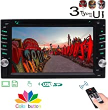 Double 2 DIN Car Stereo DVD Player with 3 Types of Design UI in Dash 6.2'' HD Multi-Touch Screen Bluetooth FM AM Autoradio Car Audio 1080P CD Player Support Aux USB SD Color Button Remote Control