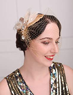 Aimimier Bridal Short Veil with Beaded Comb Champagne 1920s Flapper Fascinator Mesh Veil Single-layered Birdcage Veil for ...