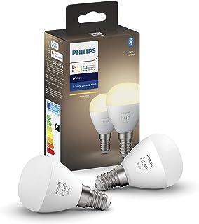Philips Hue Pack de 2 Bombillas inteligentes LED esférica E14 (5.2 W, Bluetooth, Luz blanca cálida, Compatible con Alexa y Google Home)