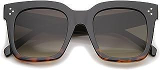 Bold Flat Lens Oversized Square Frame Horn Rimmed Sungl50mm (Black-Tortoise Fade/Lavender)