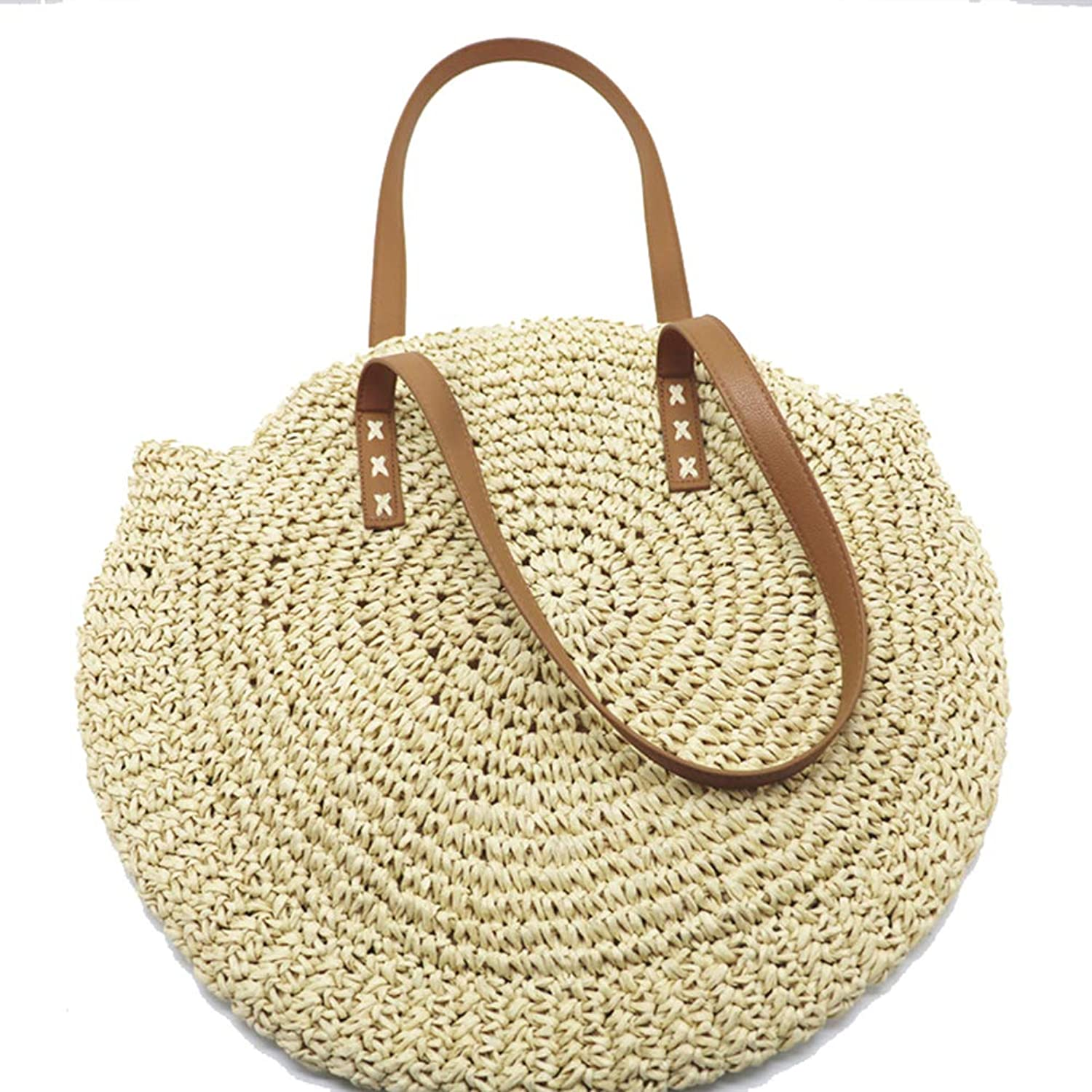 Onzama Women's Straw Handbags Large Summer Beach Tote Bags Woven Round Top Handle Shoulder Purse
