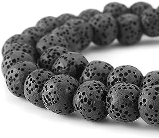 BEADNOVA 6-12mm Lava Rock Stone Gemstone semi Precious Stone Beads Round Loose Beads for Jewelry Making Findings Accessories