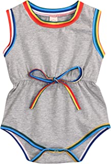 Newborn Baby Boys Girls Stripe Sleeveless Romper Black and White One Piece Bodysuit