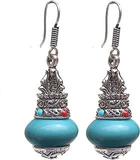 Lucky Jewellery Black Metal Silver Oxidised Feroji Stone Kalash Urn Style Earring for Girls & Women (152-AEO-J339-F-S)