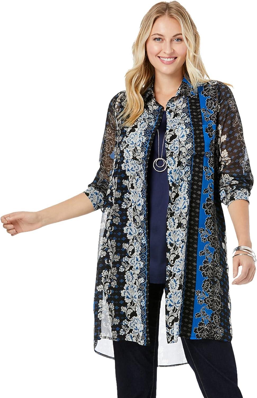 New Orleans Mall trust Jessica London Women's Plus Size Mega Long Tunic Sheer Do Button